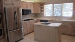 Restain Oak Kitchen Cabinets Kitchen Simple Triple Window Without Curtain On Plain Wall Paint