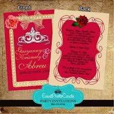 red roses beige princess quinceanera invites 15th invites