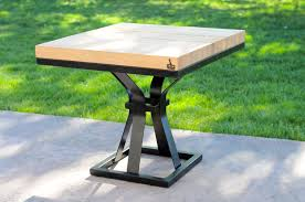 buy a hand crafted black modern wood metal end table chess table