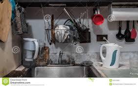 tiny small messy kitchen stock photo image 50912005
