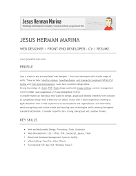 Profile For Resume Examples Efficient Web Designer And Developer Resume Template Sample