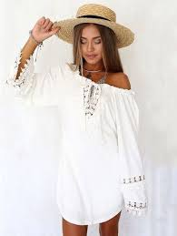 white lace cotton v neck summer backless bell sleeve dress