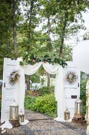 wedding backdrop doors vintage wedding ceremony arch doors lace curtain floral