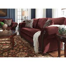 traditional sofa with flared rolled arms u0026 wood trim by signature