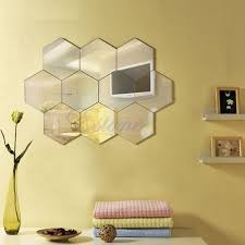 hexagon mirror style silver removable decal vinyl art wall sticker
