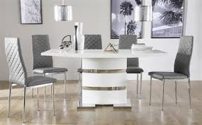 Dining Tables Grey Komoro White High Gloss Dining Table With 6 Renzo Grey Chairs Only