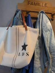 sac cabas lin sac cabas l d s sac en grosse toile beige avec l d s by soiz