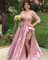 vintage lace cheap long prom dresses detachable train 2018