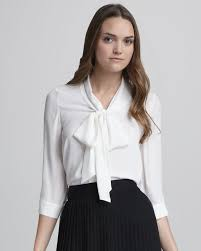 blouse with tie neck lyst tie neck blouse in white