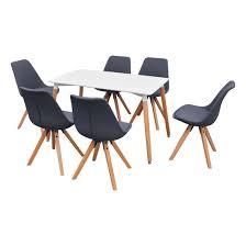 chaises grise ensemble table blanche rectangulaire et chaises grise 7 pièces