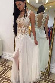 white lace prom dress bateau chiffon sleeveless white prom dress with lace beading