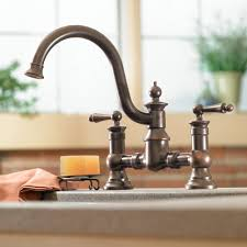 Bridge Kitchen Faucet With Side Spray by Moen S713orb Waterhill Oil Rubbed Bronze Two Handle With Sidespray