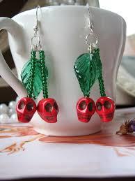 rockabilly earrings rockabilly cherry skull earrings psychobilly by senoritamuerta