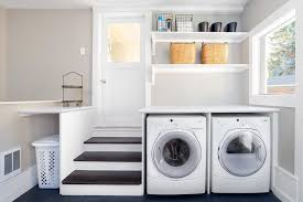 service yard laundry room transitional with wicker basket