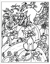 fantasy cat coloring printable halloween black pages