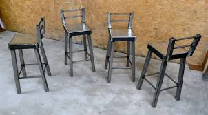 Industrial Counter Stools Industrial Style Metal Bar Stools With Ladder Back Decofurnish