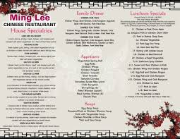 our menu ming lee chinese restaurant waterville me
