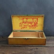antique wooden storage box table tennis box supply box