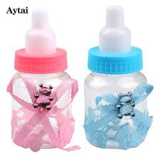 baby bottle favors aytai 48pcs mini baby bottle candy box blue pink plastic baby