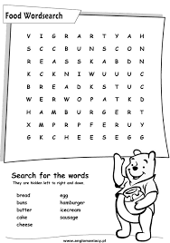 fun english kids infant and primary worksheet food