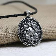 antique silver necklace pendant images Antique silver om lotus mandala pendant necklace project yourself jpg