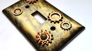 industrial steampunk light switch plate cover diy home decor tutorial