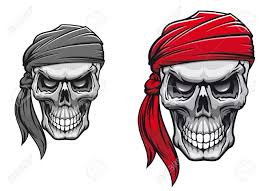 danger pirate skull in bandane for tattoo or t shirt design
