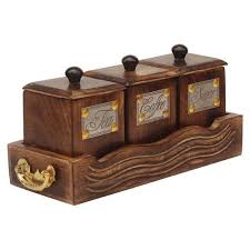 walmart kitchen canister sets souvnear 5 canister set of 3 pieces in wooden tray handcrafted