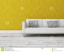 Modern Sofa Modern Sofa In Front Of A Yellow Wall Stock Illustration Image