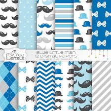 mustache wrapping paper digital paper 12 baby boy digital paper pack blue and