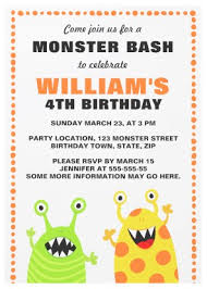 cute monster birthday party invitation for kids