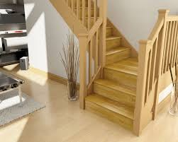interior stair design idea with brown oak wooden stair tread cover