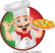 chef pizza vector illustration of chef character with pizza vector
