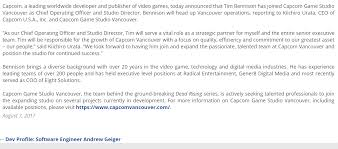 Seeking Neogaf Pr Capcom Vancouver Hires Tim Bennison As Studio Director Neogaf