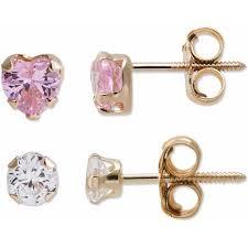14kt gold earrings girl s 14kt gold cz stud earrings set walmart