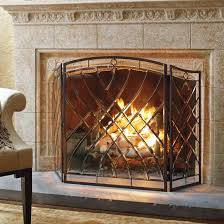 beveled glass fireplace screen frontgate