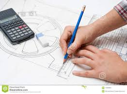 feminine hand working on design plans stock photography image