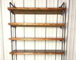 Small Rustic Bookcase Industrial Closet Shelving Shoe Shelf Unit Custom Pipe