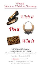 chicos gift cards up your wish list from chico s and then pin it for a