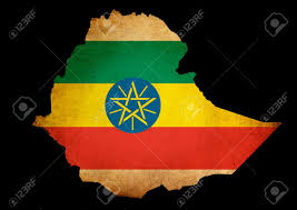 Map Of Ethiopia Outline Map Of Ethiopia With Flag And Grunge Paper Effect Stock