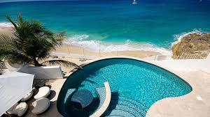 houses pool view elegant blue ocean sea free desktop