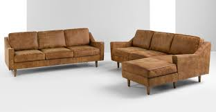 Dallas  Seater Sofa Outback Tan Premium Leather Madecom - Leather 3 seat sofa