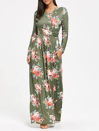 maxi dresses 2018 high waist floral printed sleeve maxi dress pea green s