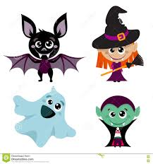 Halloween Drawings Easy Vector Characters And Icons For Halloween In Cartoon Style Stock