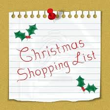 christmas shopping list christmas shopping list reminder note stuck on notice board 80668