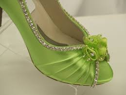 wedding shoes green neon green wedding shoes crystals and flowers peep toe