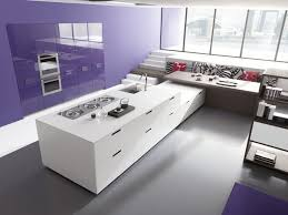 kitchen black white glossy kitchen cabinet and island breakfast sunken kitchen with lilac accent wall white kitchen island with wooden breakfast bar wooden bookcase massive