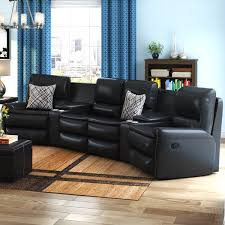 latitude run yonkers leather reclining sectional u0026 reviews wayfair