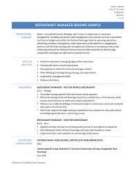 Resume Template For Restaurant Chic Sample Resume Restaurant Manager For Restaurant Manager