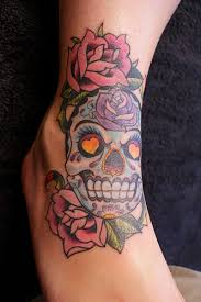 girly mexican skull and roses flowers skull tattoos for women